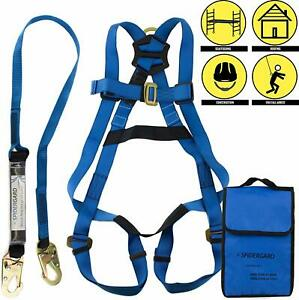 Fall Protection Arrest Kit Full Body Harness With 6 Shock absorbing Lanyard