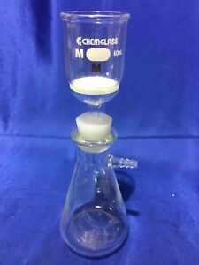 Vacuum Filtration Unit Buchner Medium 60 Ml Frit Funnel 250 Ml Flask