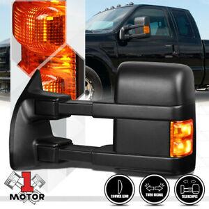 left driver Side Manual Led Signal Towing Mirror For 08 16 Ford F250 Super Duty