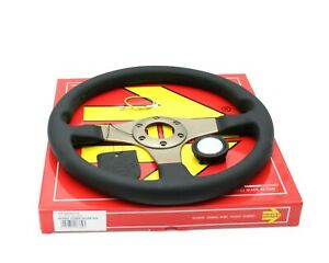Momo Tuner Silver Steering Wheel Leather Red Stitching 350mm Genuine New