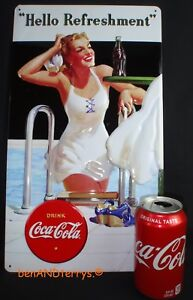 Coca-Cola Hello Beauty Embossed Tin Advertising Sign 16 1/2