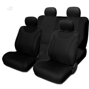 For Jeep New Sleek Flat Black Cloth Front And Rear Car Seat Covers Set