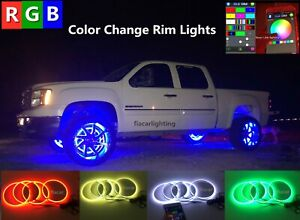 Fiacarlighting 15 5 Ip68 Rgb Color Change Bluetooth Led Wheel Rings Lights X4pcs