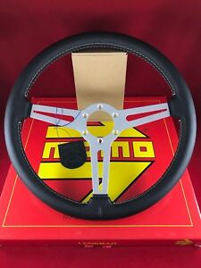Momo Classic Retro 360mm Black Leather White Stitch Steering Wheel Ret36bk2s
