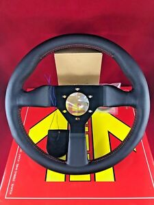 Momo Monte Carlo 350mm Black Leather Red Stitch Steering Wheel Mcl35bk3b