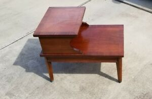 Vintage Mid Century Modern 2 Tier Step End Tables Solid Wood Straight 793 T260