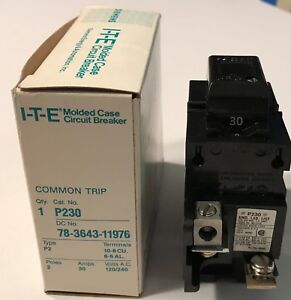 Ite Pushmatic P230 Double Pole 2p 30 Amp 240 V Circuit Breaker Free Shipping