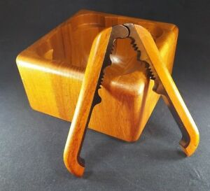 Rare Mid Century Solid Staved Teak Nut Bowl And Cracker By Digsmed For Nissen
