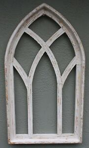 Wooden Antique Style Church Window Frame Primitive Wood Gothic 30 1 2 Shabby