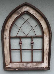 Wooden Antique Style Church Window Frame Primitive Wood Gothic 28 Shabby