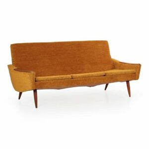 Danish Modern Sofa Vintage Settee Mid Century Modern Loveseat Sculpted Walnut