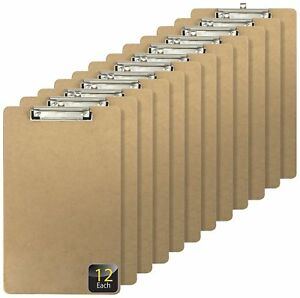 Officemate Recycled Legal Size Wood Clipboard Low Profile Clip 12 Pack Brown