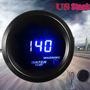 Car Motor Universal Black 2 52mm Blue Digital Led Fahrenheit Water Temp Gauge