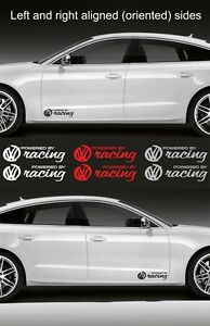 2pcs Powered By Volkswagen Racing 15 Wide Vinyl Decal Sticker Emblem Graphic