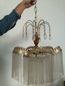 Old Italian Brass Lamp Sconce Chandelier Cut Tubular Crystal Glass From 50 S