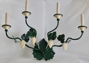 Vtg Italian Green Tole 4 Arm Wall Sconce Light Fixture Grapes Leaves 25 5