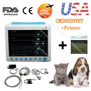 Us Fedex Cms8000vet Veterinary Patient Monitor Multiparameter Icu With Printer