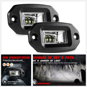 Universal Pair 20w Flush Mount Led Pods Flood Cree Work Light Bar Offroad Backup