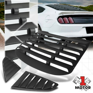 Black Rear Side 1 4 Window Louvers Sun Shade Cover Vent For 15 18 Ford Mustang