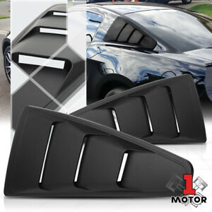 Black 1 4 Quarter Side Window Louvers Scoop Cover Vent For 05 14 Ford Mustang