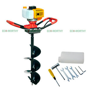 Eco 2 2 Hp Gas Powered Post Hole Digger W 4 Auger Drill Bit 52cc Power Engine