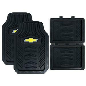 Chevy Bowtie Logo Heavy Duty Truck Suv Car All Weather Rubber 4pc Floor Mats Set