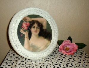 Chic Vintage Shabby Wicker Picture Frame Vanity Perfume Tray Victorian Print