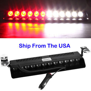 Red White 12 Led Warning Visor Strobe Light Vehicle Dash Flashing Emergency Lamp