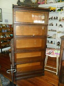Vintage Early Globe Wernicke 5 Tiered Barrister Book Case With Top And Bottom