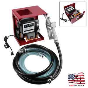 110v 16 Gallon Electric Diesel Oil Fuel Transfer Pump W Meter 13 Hose