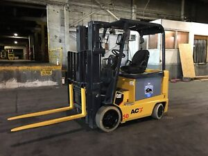 2012 Caterpillar Electric 5000 Pound Forklift With Side Shift And Triple Mast