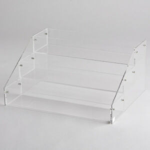 Clear Acrylic Countertop Display Deep 3 Tier Plastic Shelf Plexiglass Step Riser