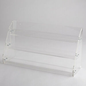 Clear Acrylic Countertop Display 3 Tier Plastic Shelf Plexiglass Bins Step Riser