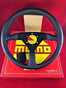 Momo Monte Carlo 350mm Black Leather Black Stitch Steering Wheel Mcl35bk1b