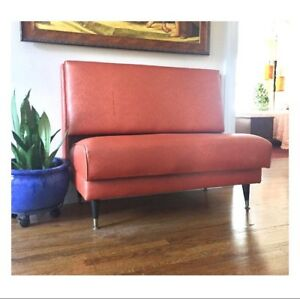 Vintage Restaurant Booth Diner Booth Orange Paisley Embossed Vinyl 1970s Seating