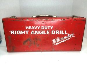 Vintage Milwaukee Corded Right Angle Drill W Accessories And Original Box