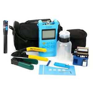 Fiber Optic Ftth Tool Kit W Fc 6s Cleaver Optical Power Meter Visual Finder us