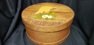 16 Antique Primitive Round Wooden Cheese Pantry Box Hand Painted Vintage Wood