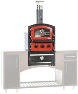 Built in Wood Fired Brick Outdoor Pizza Oven Grill Smoker Red Stainless Steel