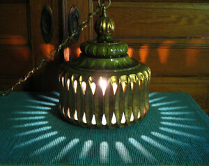 Quality Large Vintage Mid Century Modern Swag Pottery Lamp Great Light Display