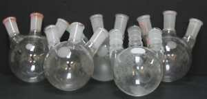 Kontes Chemglass 500ml Round Bottom Morton Flask 3 Joint 24 40 Lot Of 5 5515