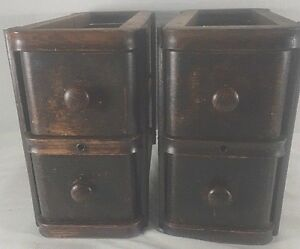 4 Antique Singer Treadle Sewing Machine Wood Drawers W Frames Oak