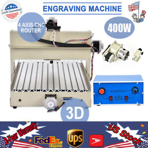4axis 400w 3040 Cnc Router Engraver Drill Wood Metal Artwork Diy 3d Cutter Mach3