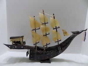 Hand Carved 3 Mast Ship Dragon Shape Wood Plastic Sails 19 Vintage R9 4