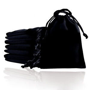 Black Gift Bags Velvet Cloth Jewelry Pouch Drawstring Wedding Favors 5 Size