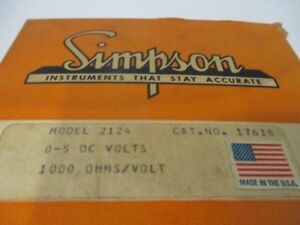 Simpson 17618 Panel Meter 0 5 Dc Volts 1000 Ohms new In Box