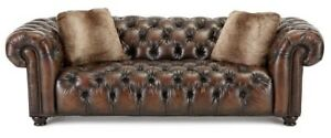 New Ss Bernhardt For Neiman Marcus Tufted Leather Chesterfield Sofa Msrp 4 059