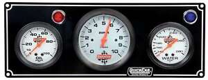 Quickcar Racing Products 61 67313 Gauge Panel Assembly White Face Warning Light