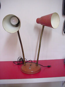 Vintage Double Goose Neck Desk Lamp Mid Century Modern 22 Tall All Steel Works