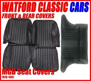 Mgb Gt Front And Rear Seat Covers 1972 1981 Black With Black Piping